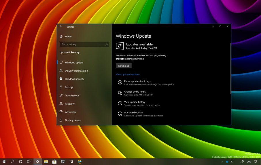 Windows 10 build 19018 download