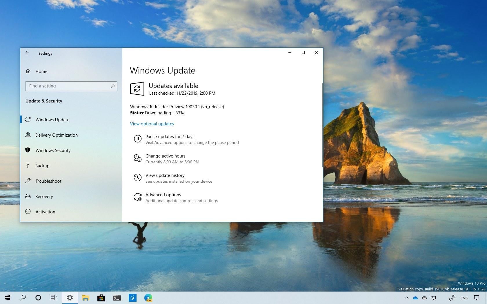 Windows 10 build 19030 download