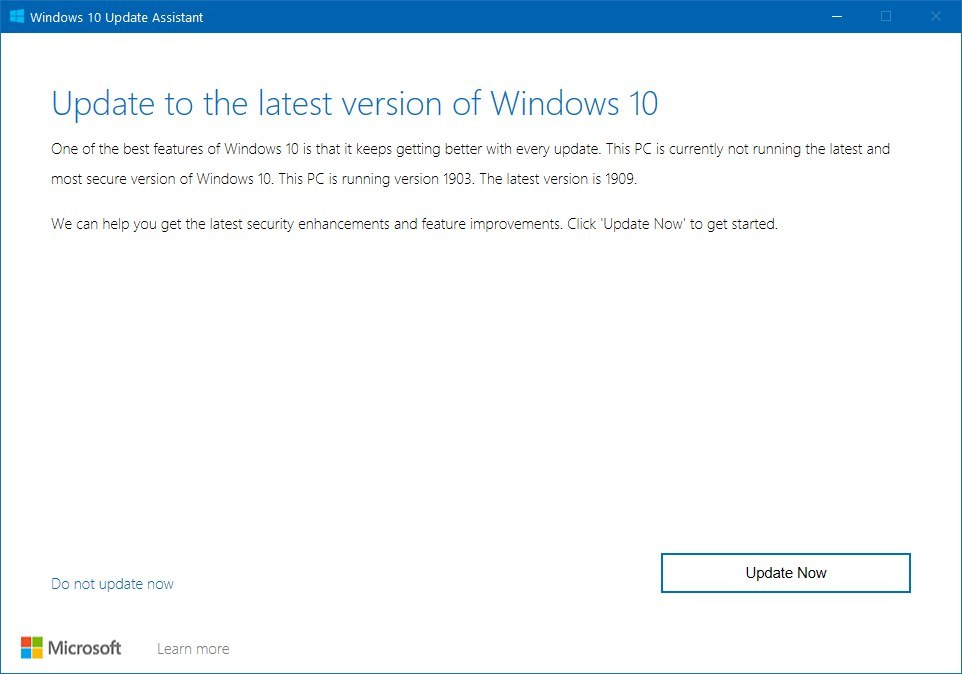 Windows 10 version 109 Update Assistant