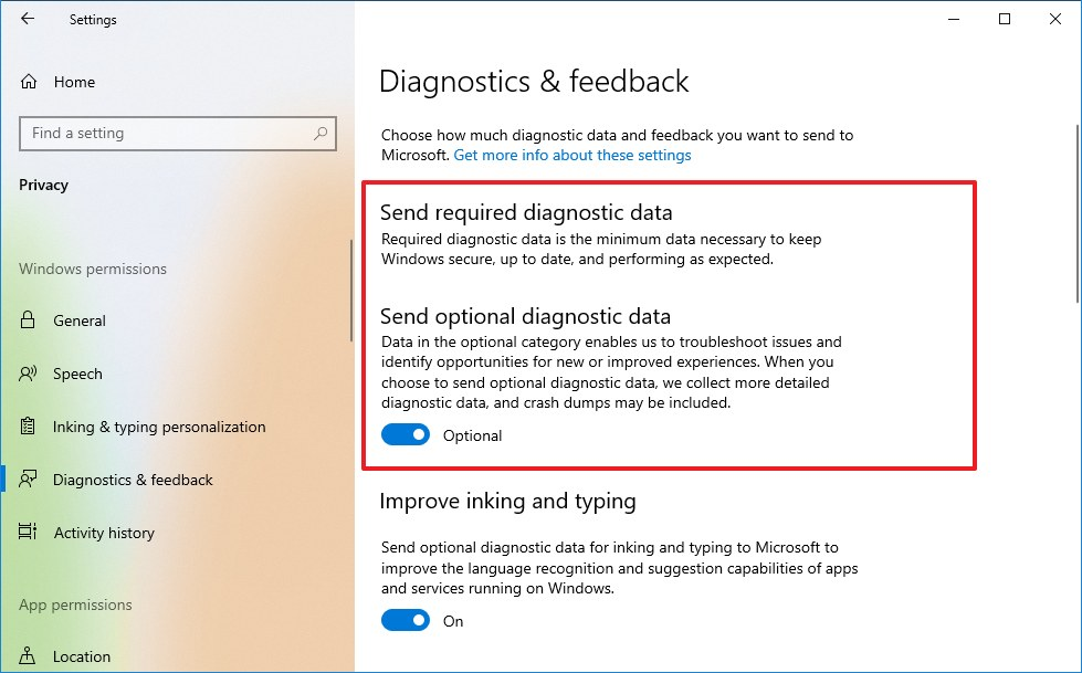 Diagnostic & feedback settings on Windows 10 version 2009