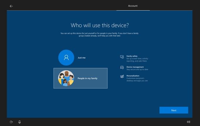 Family group setup on Windows 10 20H2 (sorce: Microsoft)