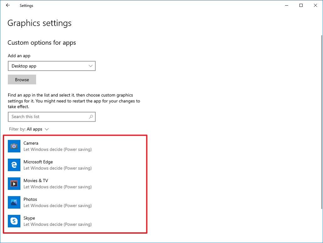Graphics settings on Windows 10 version 2009