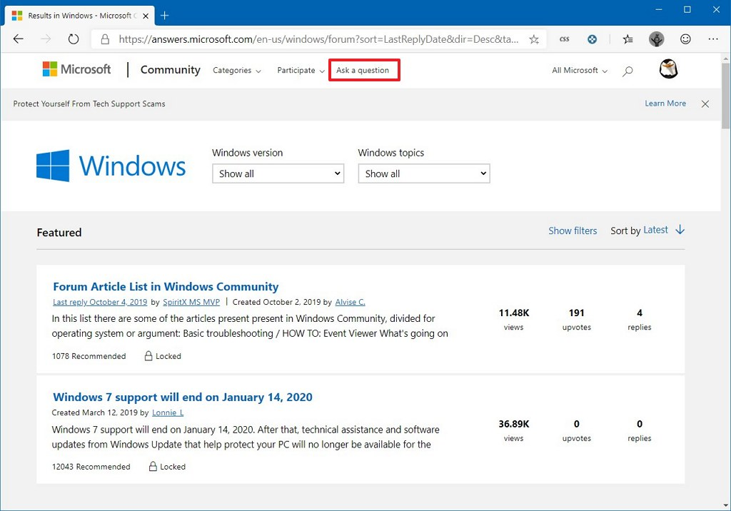 Microsoft forums ask question option