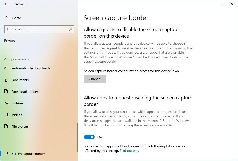 Screen Capture border settings