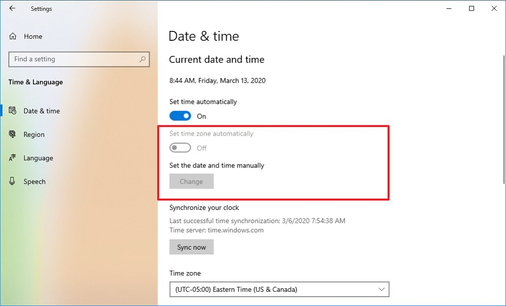 Date & time settings on version 2009