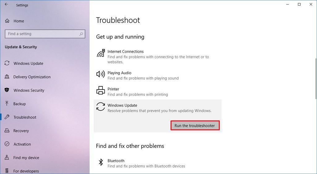 Windows 10 Troubleshoot settings