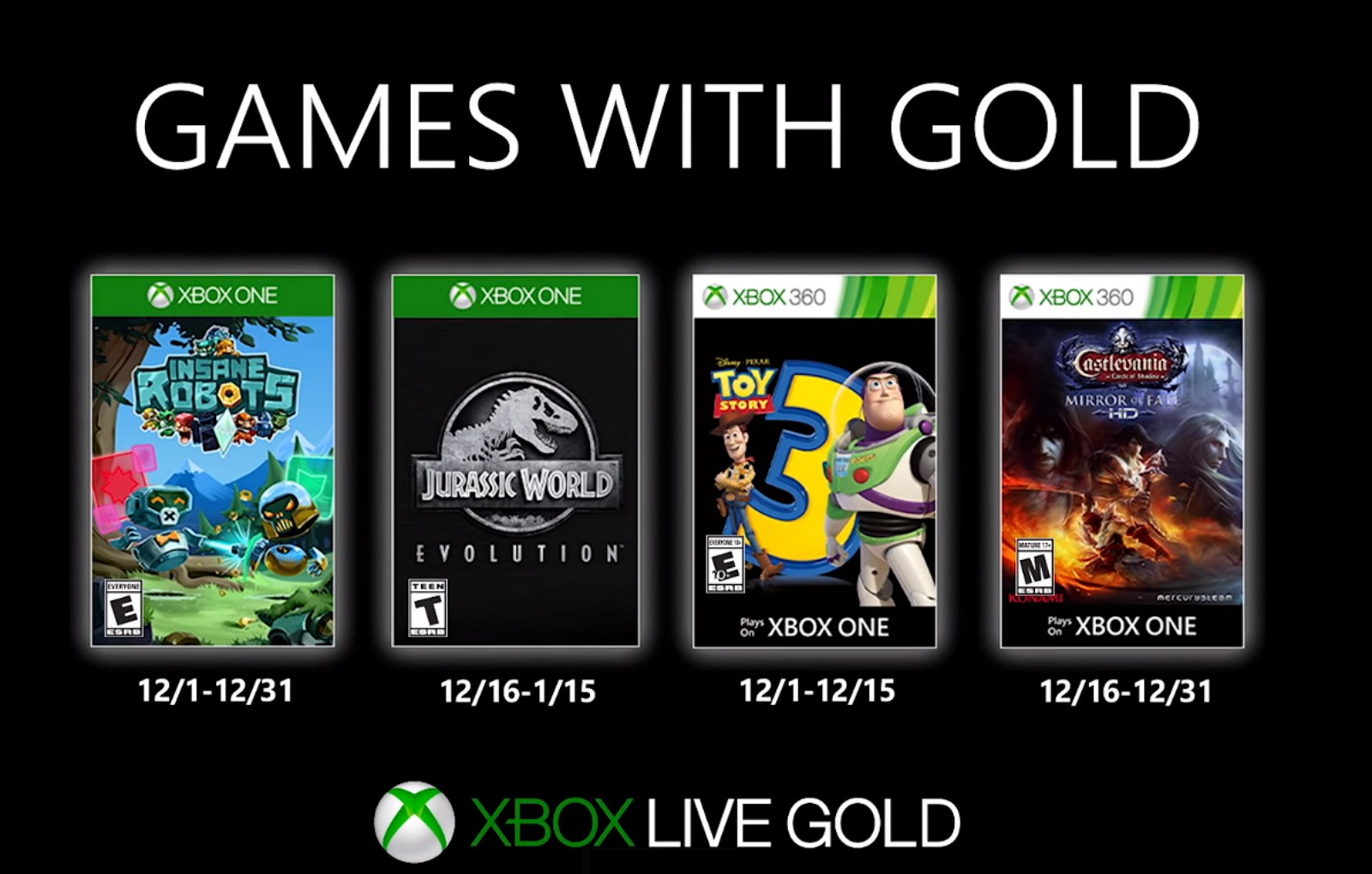 Xbox Games with Gold for December 2019