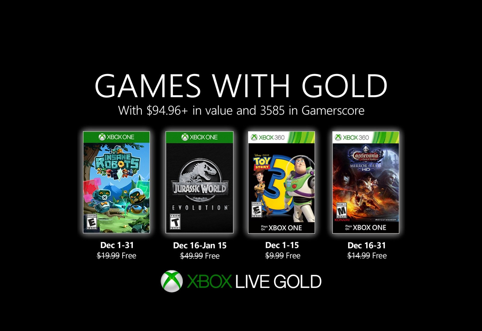 Xbox Games with Gold for January 2020 (Source: Microsoft)