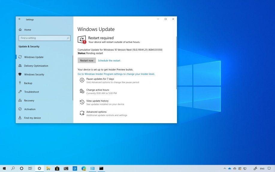 Windows 10 build 19041.21 download