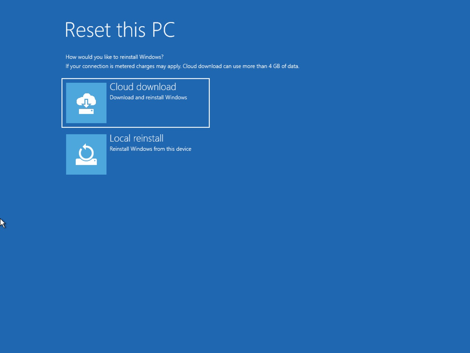 Reset this PC with cloud download option from Windows 10 advanced startup