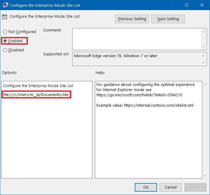Configure the Enterprise Mode Site List policy