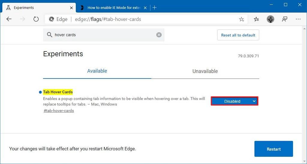 Microsoft Edge Chromium disable tab hover cards option