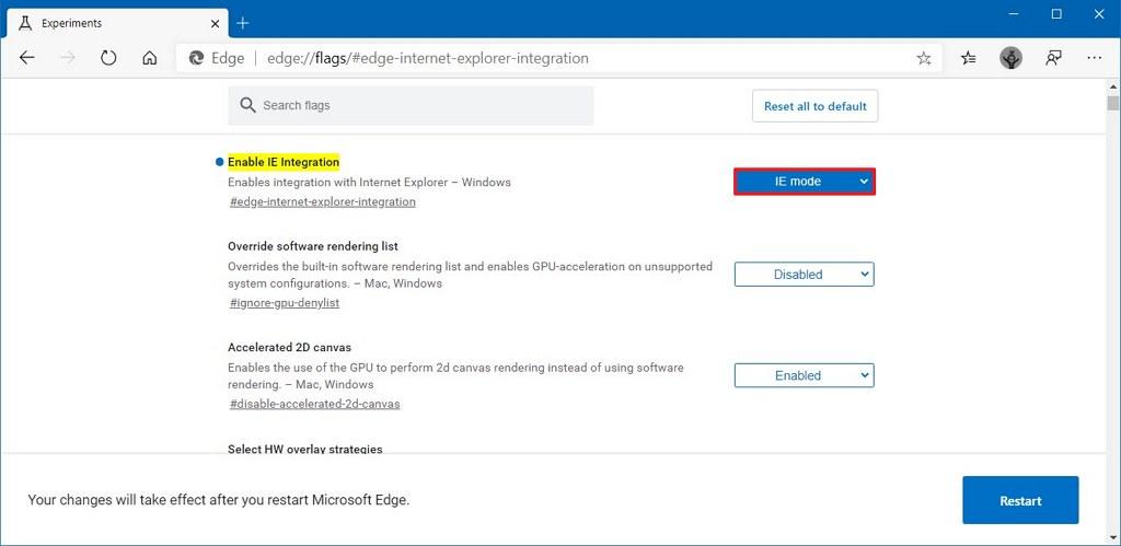 Microsoft Edge enable IE Mode integration option