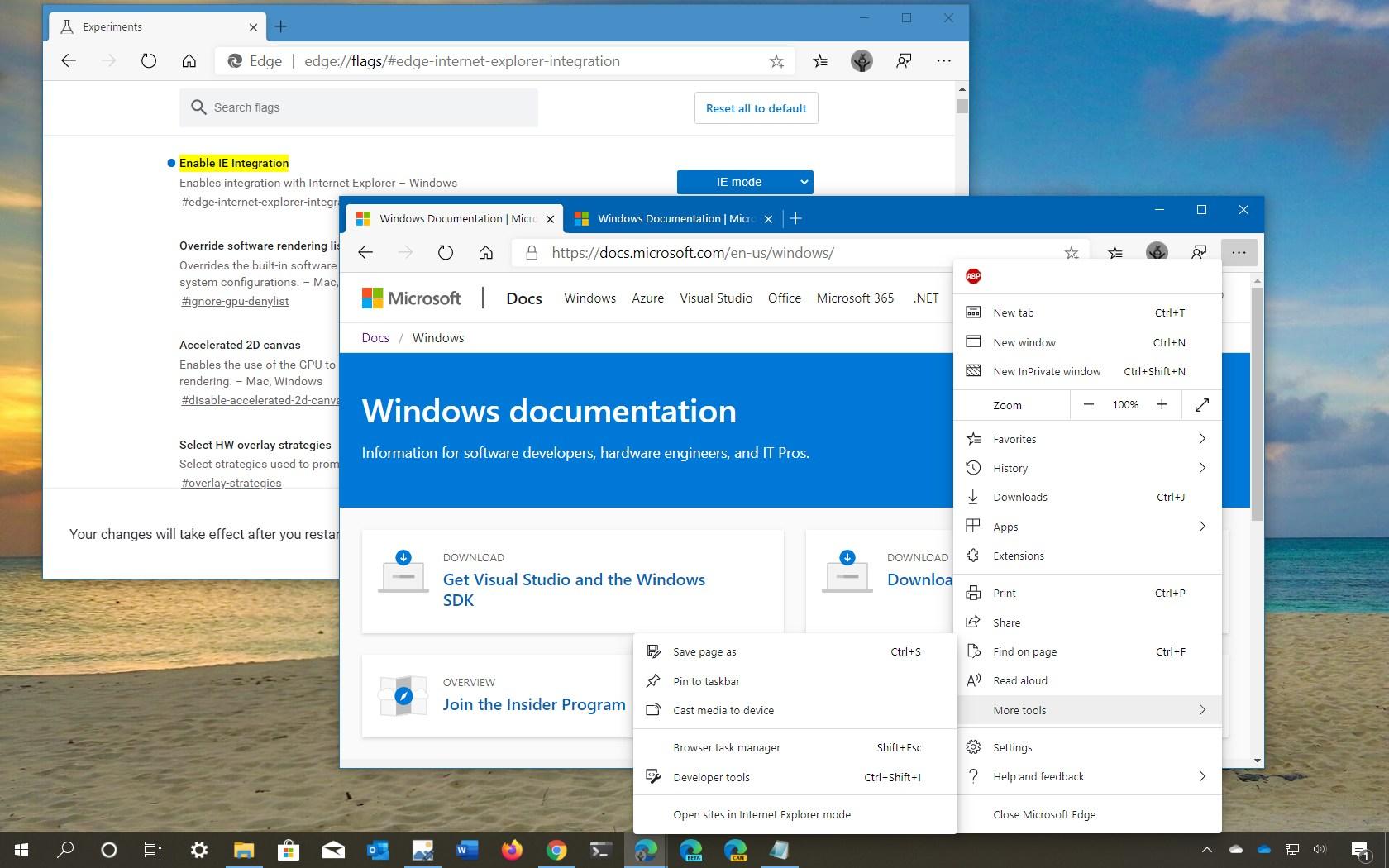 Microsoft Edge enable IE Mode