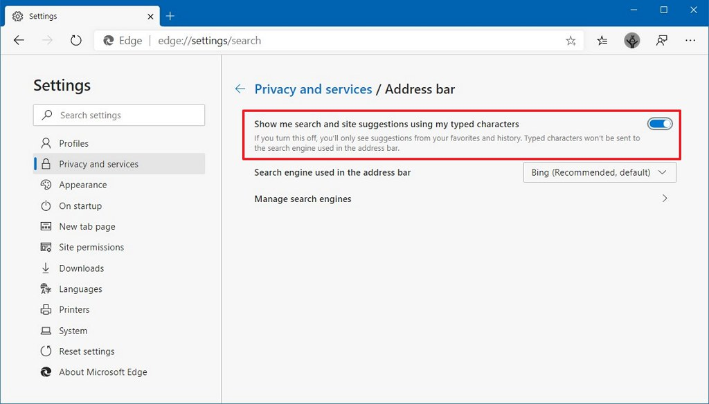 Microsoft Edge enable search suggestion option