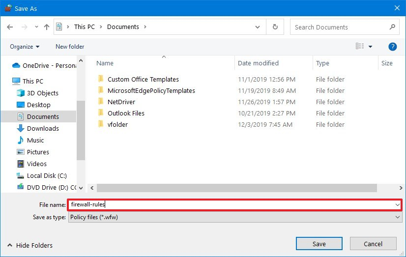 Export firewall rules to wfw file