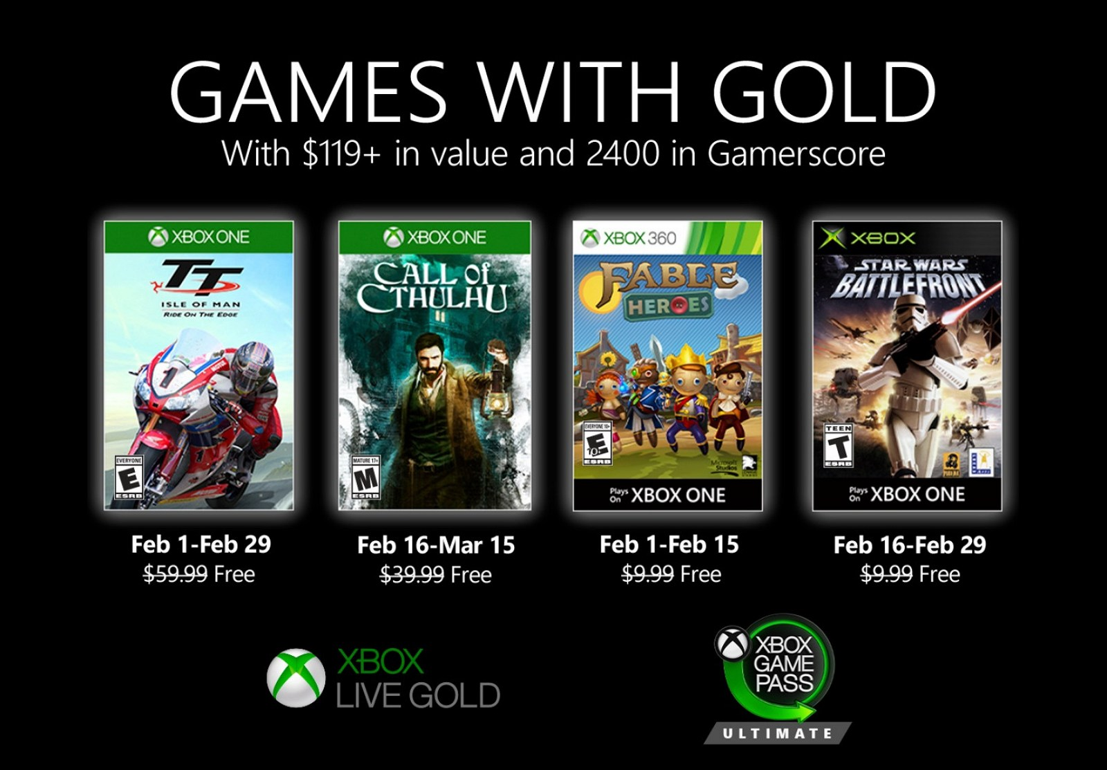 Xbox Games with Gold for February 2020 (Source: Microsoft)