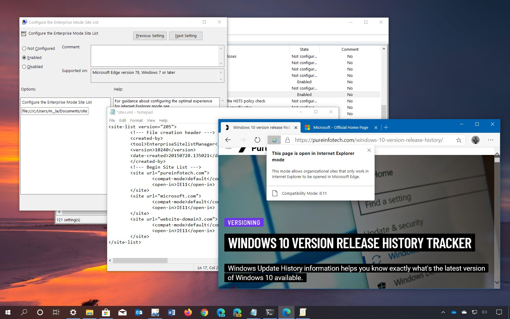 Microsoft Edge IE Mode for external sites