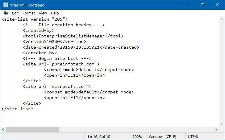 Microsoft Edge IE Mode sites xml sample