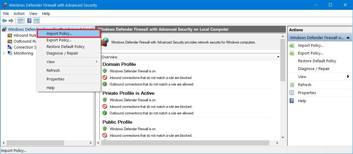Windows 10 firewall import rules option