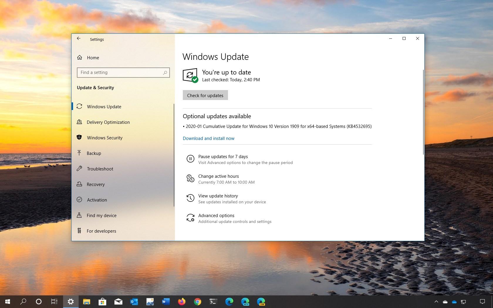 Windows 10 update KB4532695 download