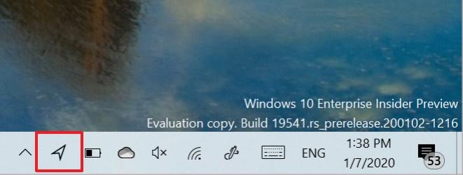 Windows 10 new location icon in taskbar (Source: Microsoft)