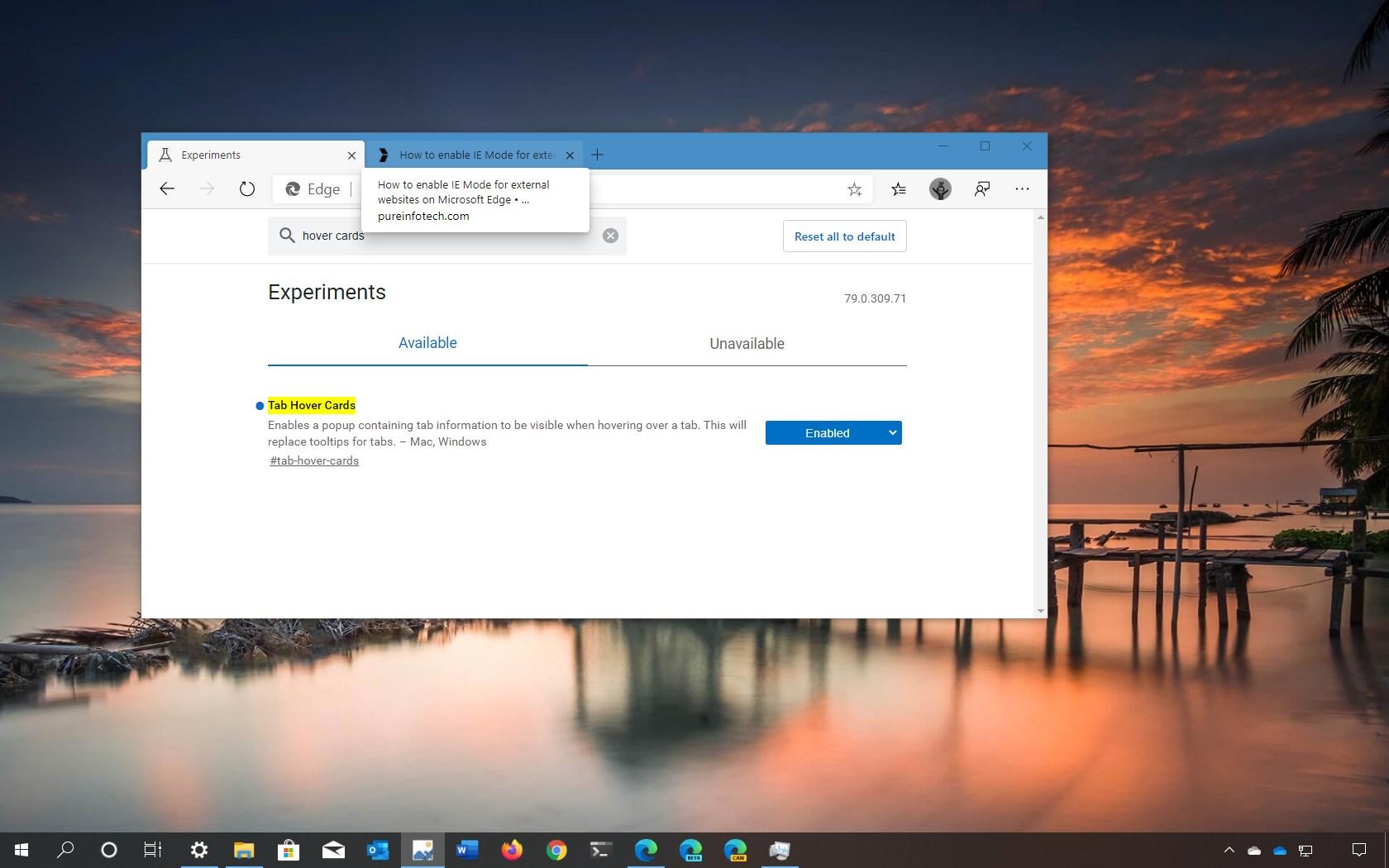 Microsoft Edge enable tab previews