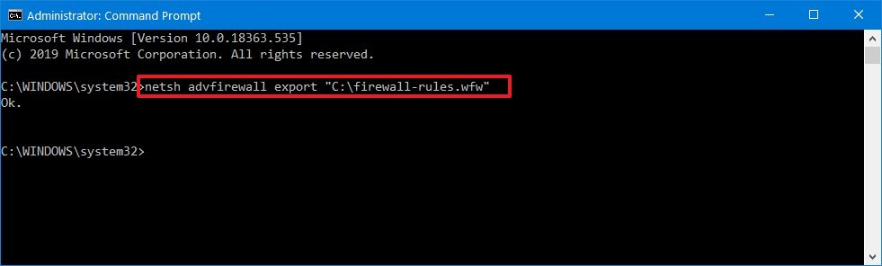 Export firewall rules using netsh command