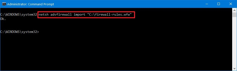 Import firewall rules using netsh command