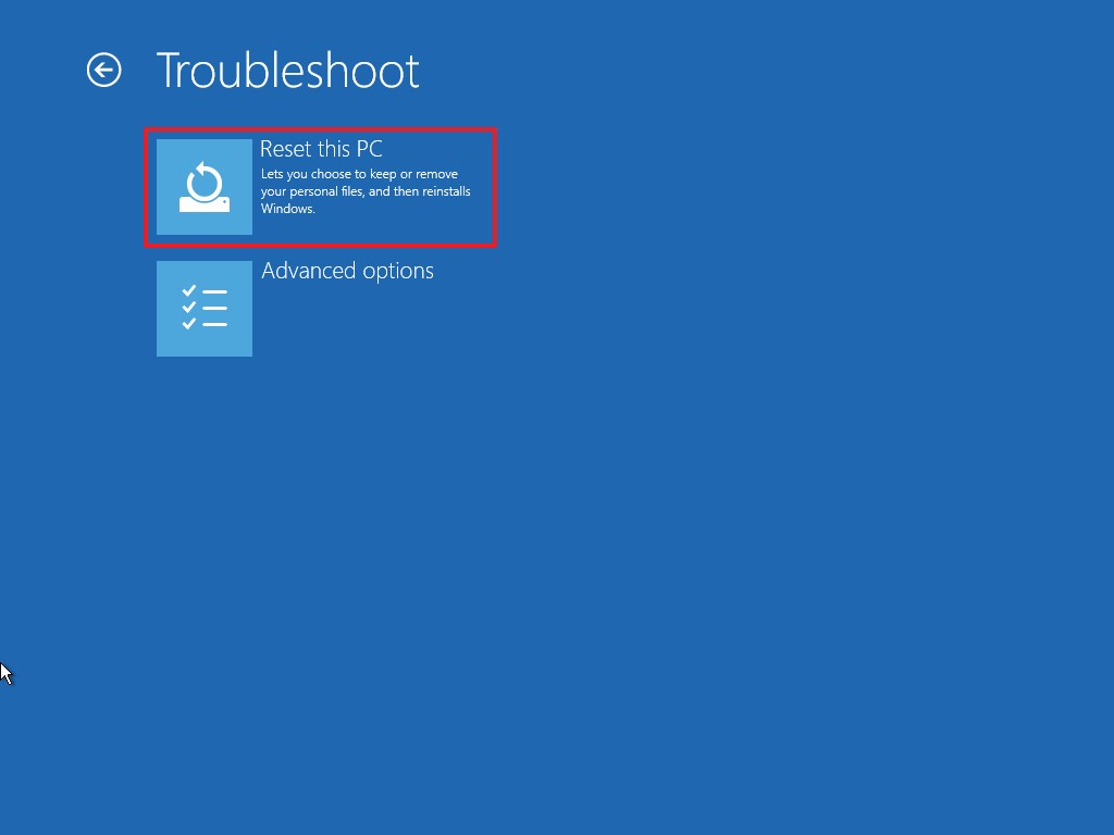 Advanced startup Reset this PC option