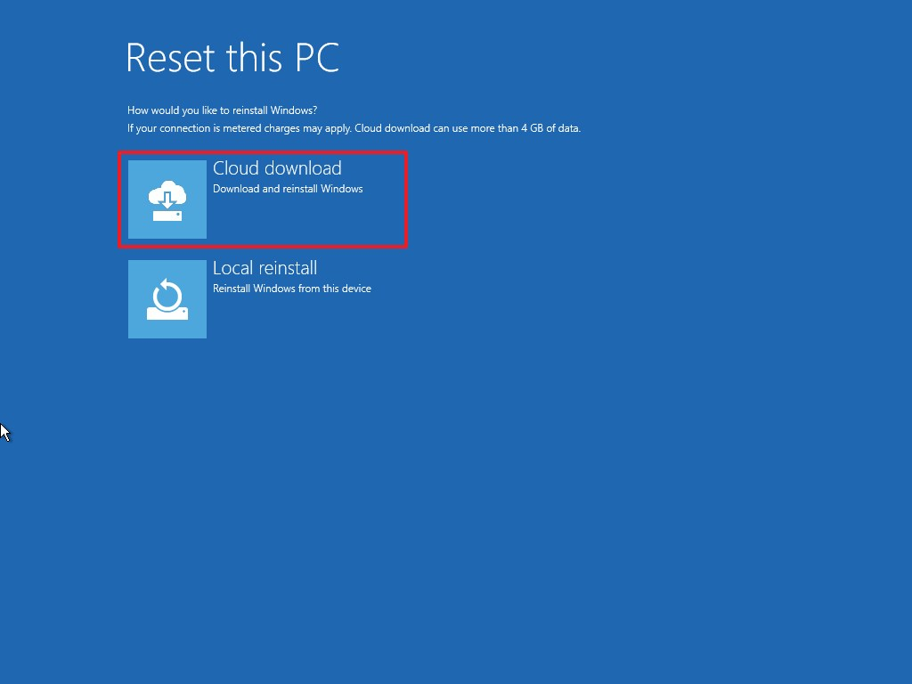 Advanced startup Reset this PC cloud download option