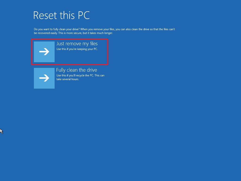 Advanced startup Reset this PC just remove my files option