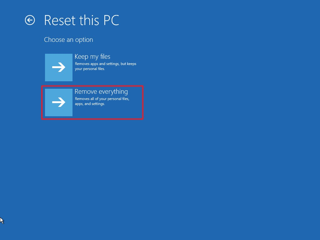 Advanced startup Reset this PC remove everything option