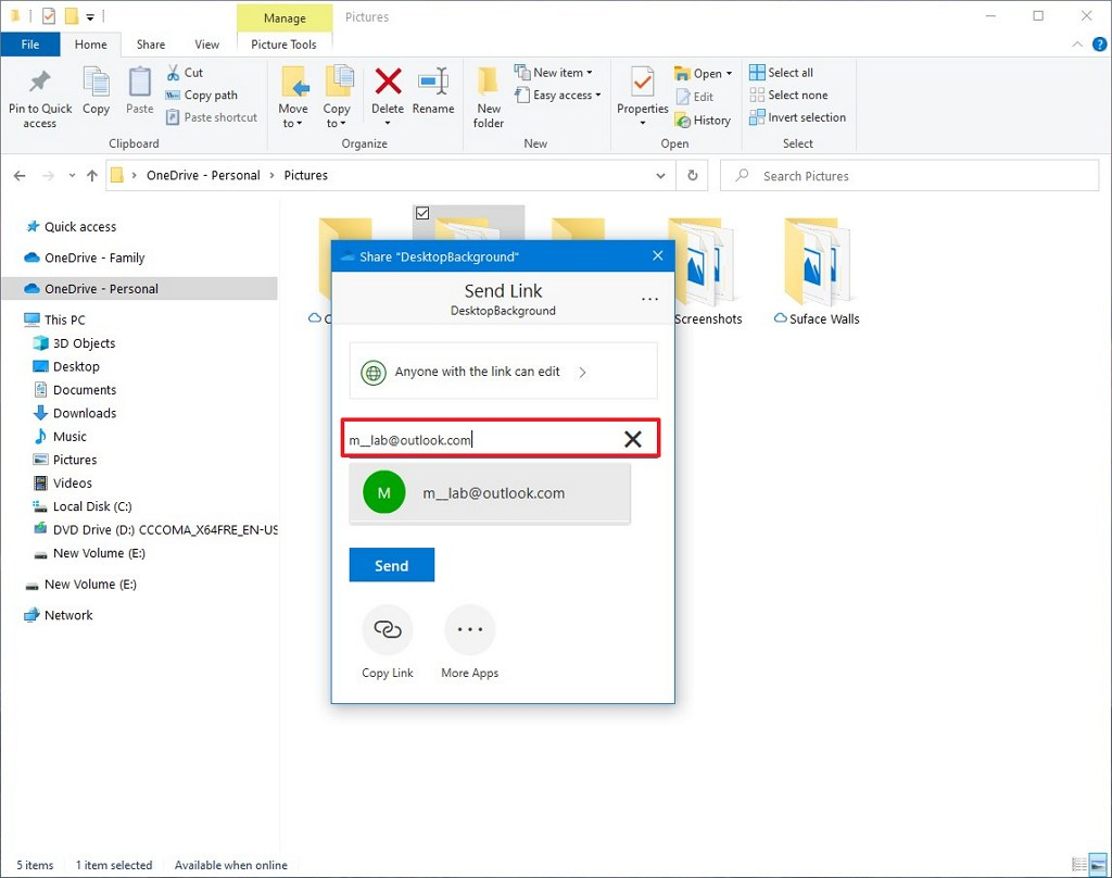 OneDrive share options on Windows 10