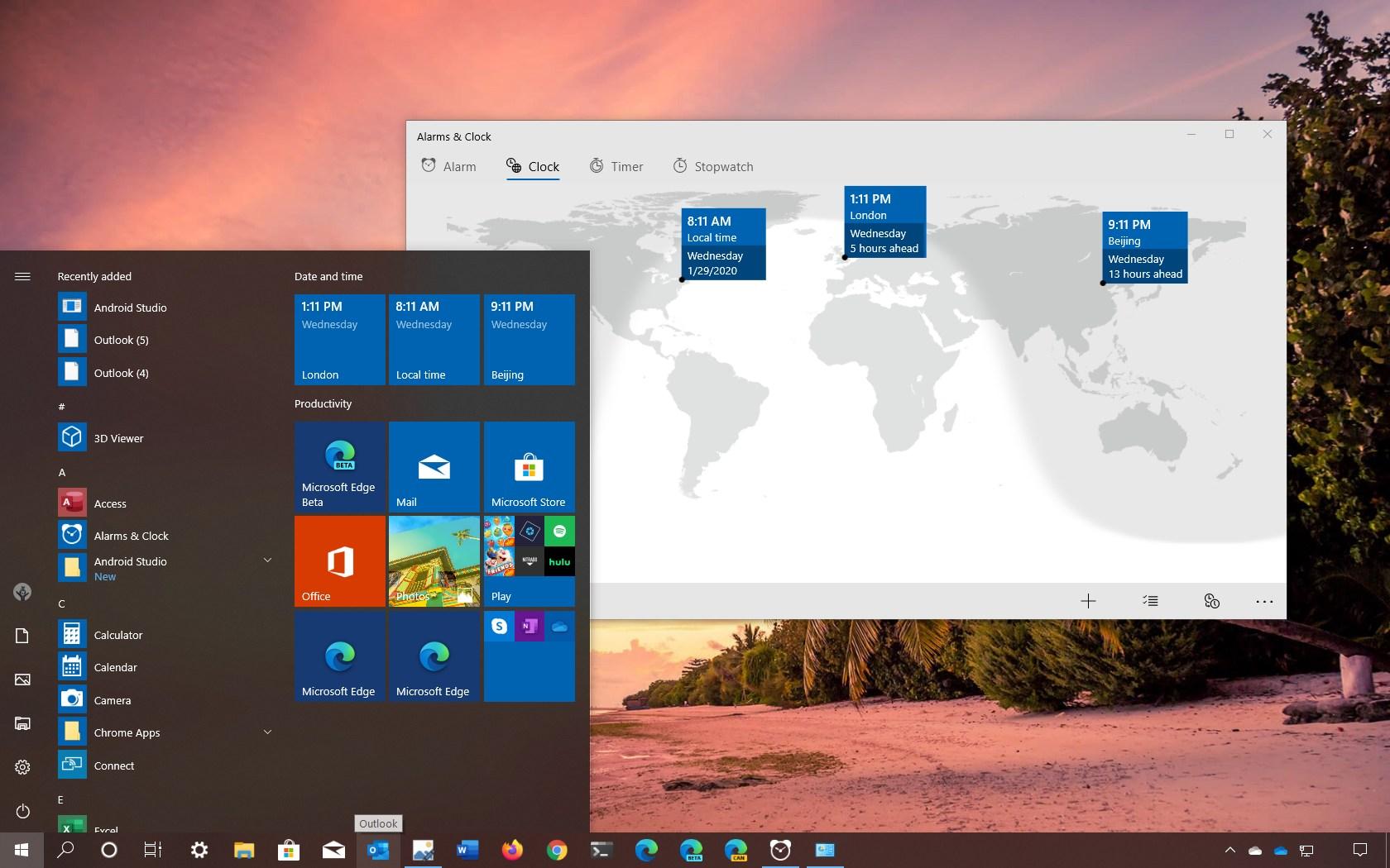 Windows 10 Start menu with clocks