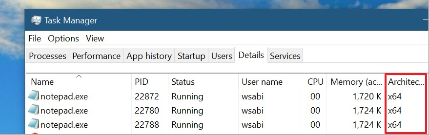 Task Manager Details tab with architecture info (Source: Microsoft)