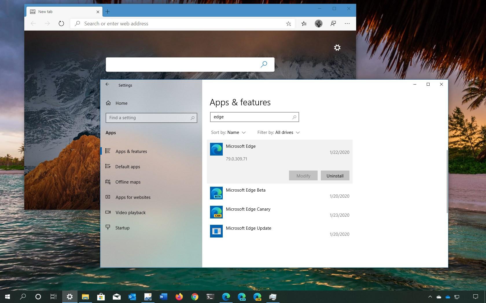 Microsoft Edge Chromium uninstall option
