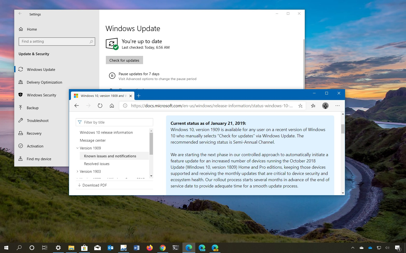 Windows 10 version 1909 fully available notice
