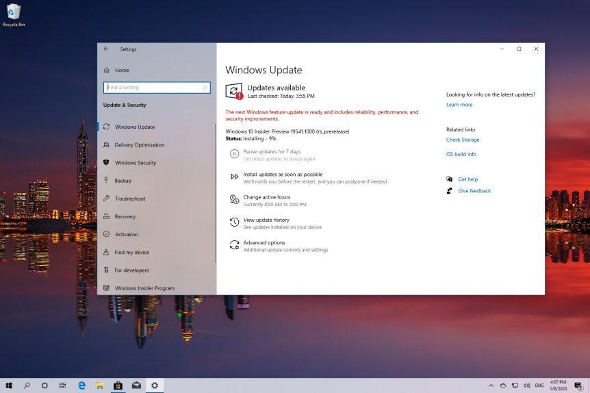Windows 10 build 19541 download