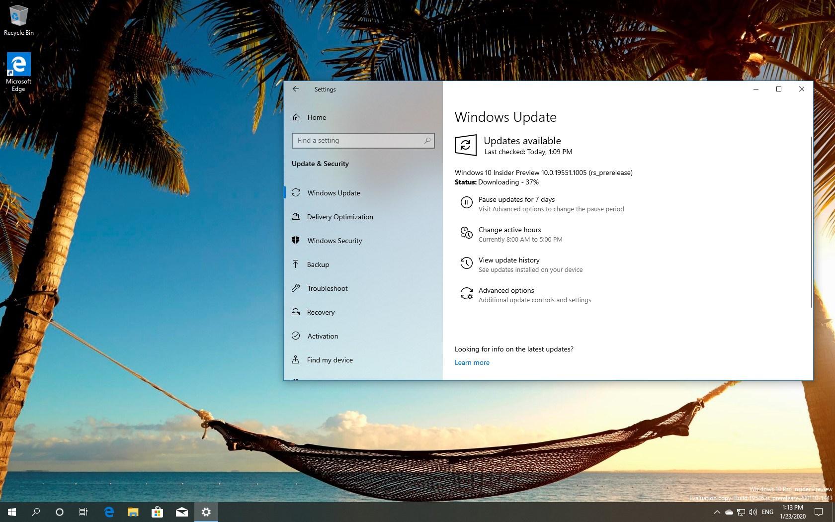 Windows 10 build 19551 download