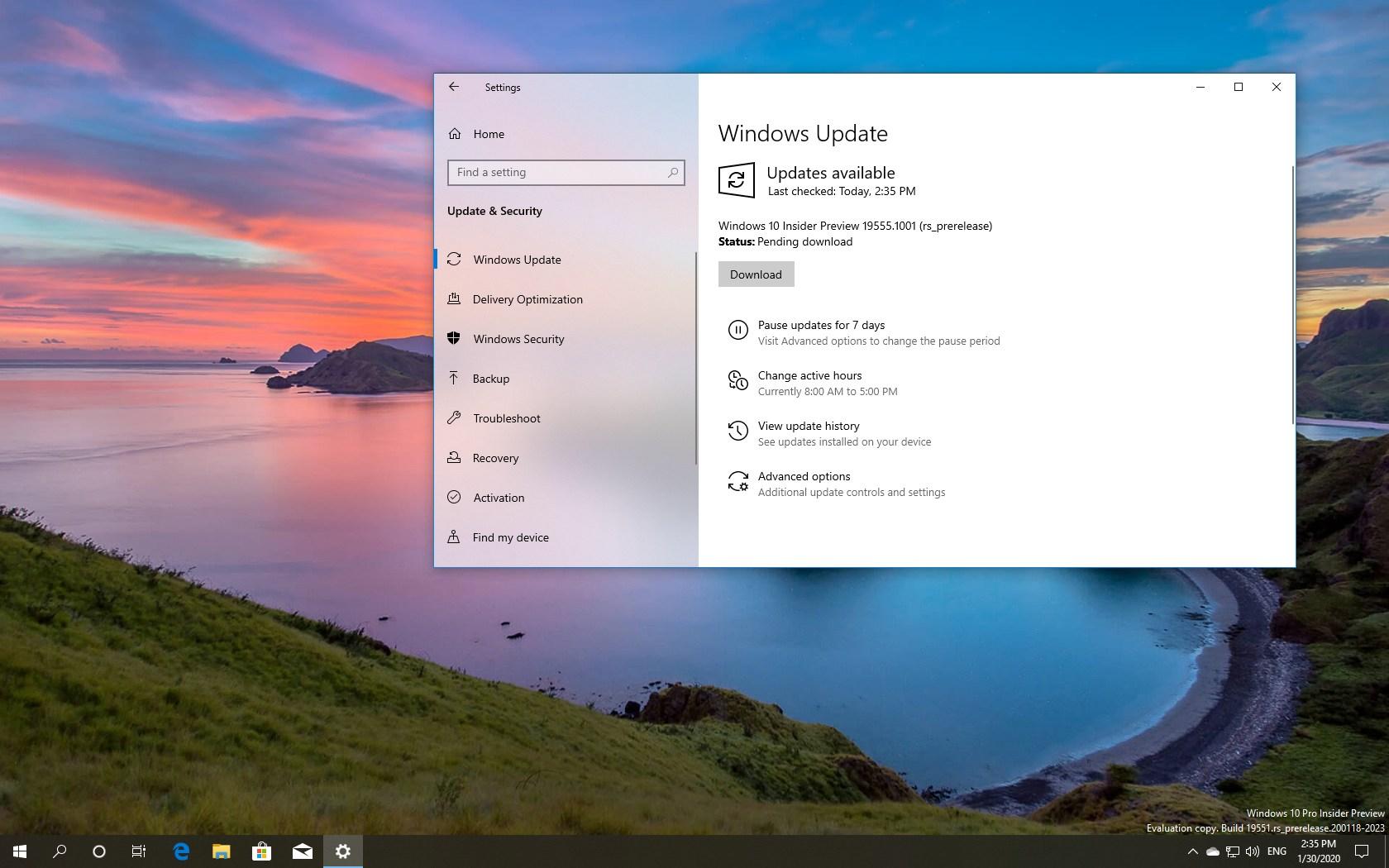 Windows 10 build 19555 download