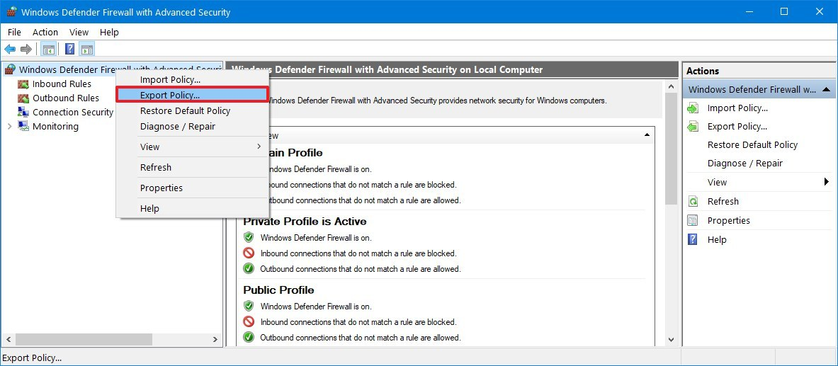 Windows 10 firewall export rules option