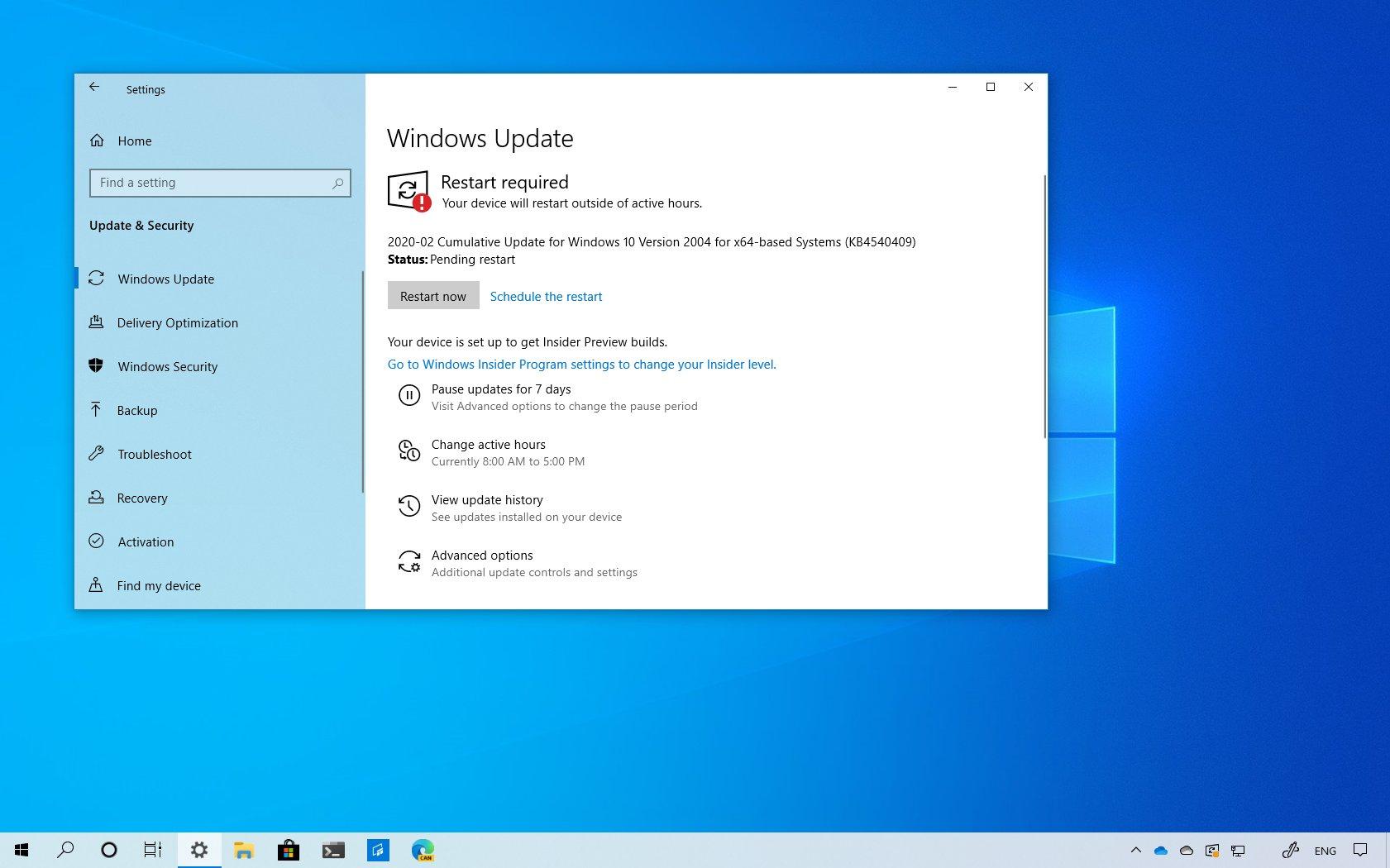 Windows 10 update KB4540409