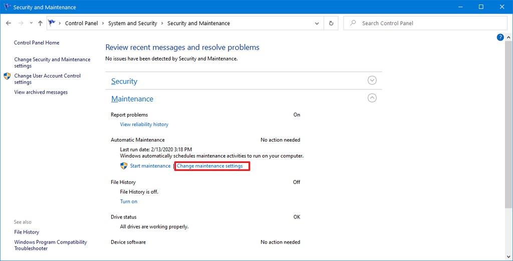 Change maintenance settings on Windows 10