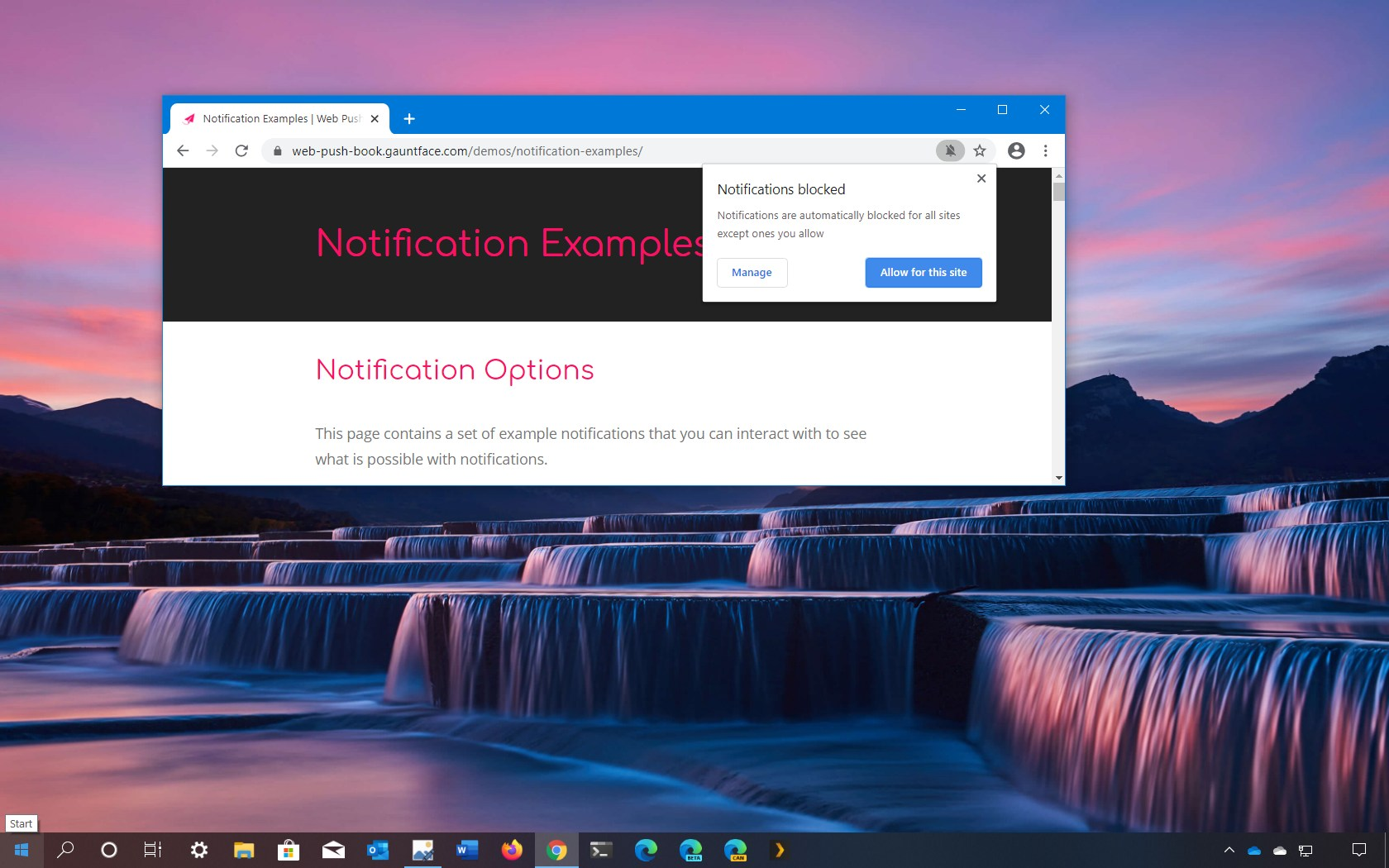 Google Chrome notification blocker