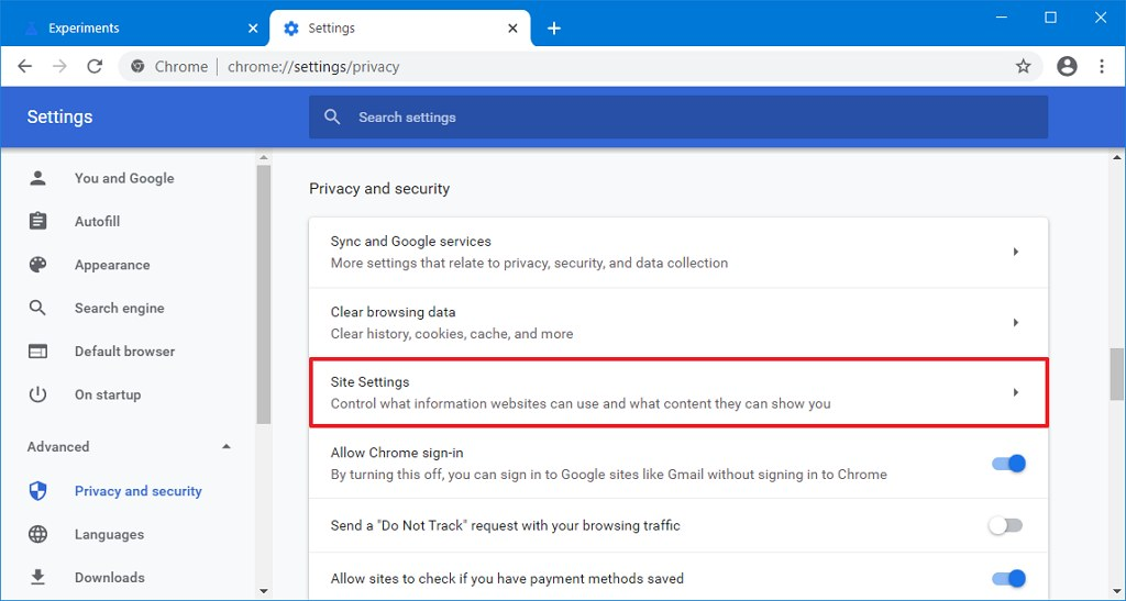 Chrome privacy and security settings