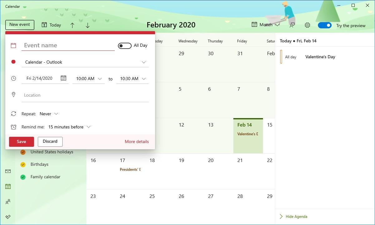 Calendar add new events interface