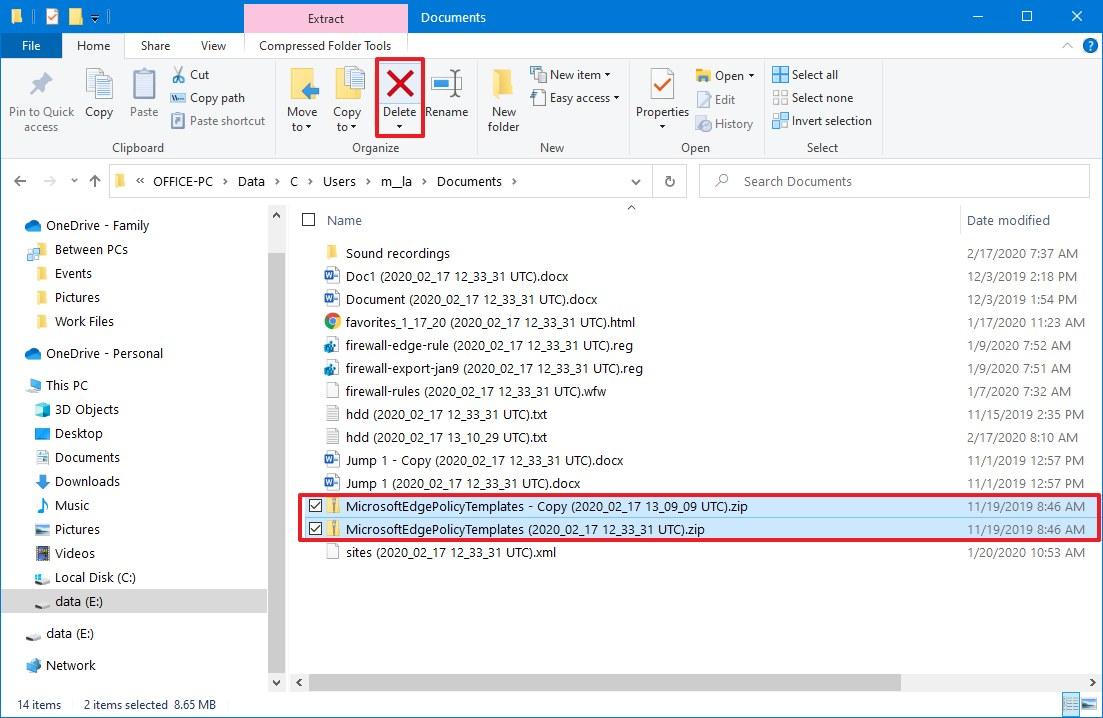 File History delete files manually