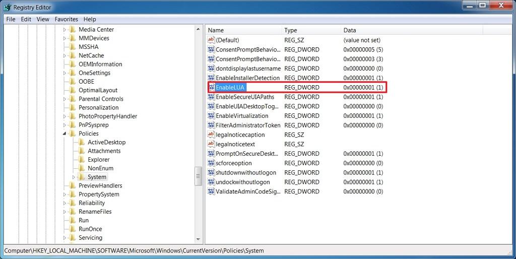 Windows 7 EnableLUA