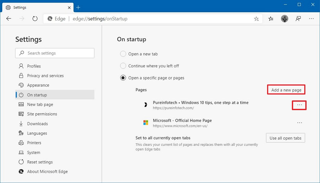 Microsoft Edge restart on specific page option